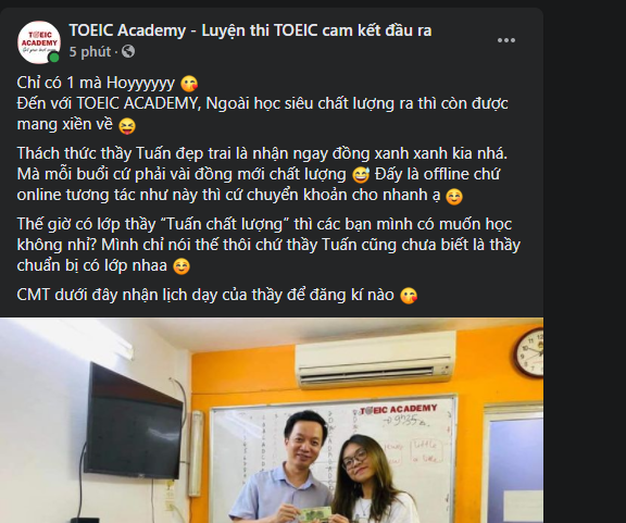 Mẫu content tuyển sinh TOEIC academy
