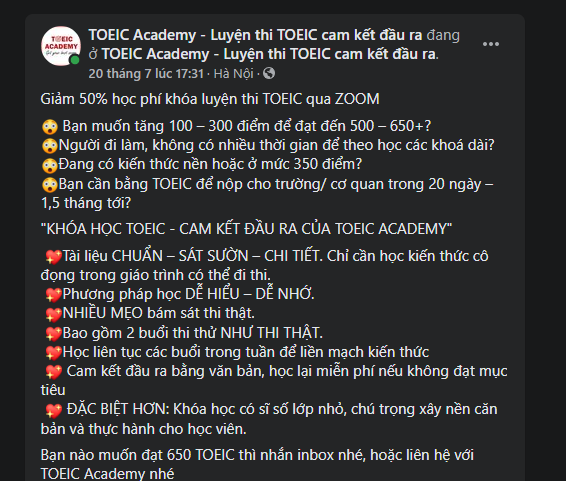 Mẫu content tuyển sinh của TOEIC Academy